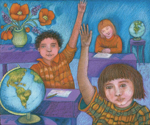 Artwork from the cover of Helping Traumatized Children Learn Volume 1 by Phoebe Stone